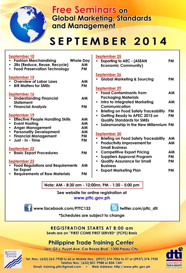 PTTC September seminars