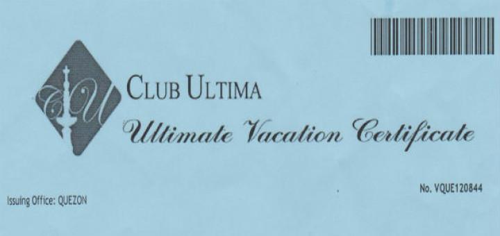 Club Ultima Crown Regency Gift Certificate